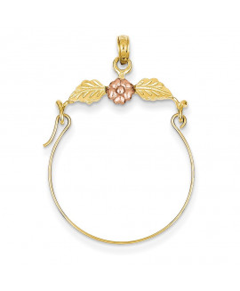 14k Two-tone Leaves w/Flower Charm Holder