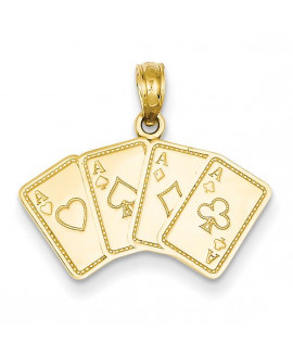 14k Aces Playing Cards Pendant