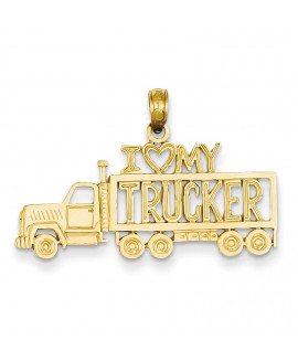 14k I Love My Trucker Truck Pendant