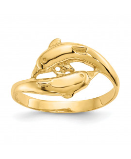 14K Double Dolphins Ring