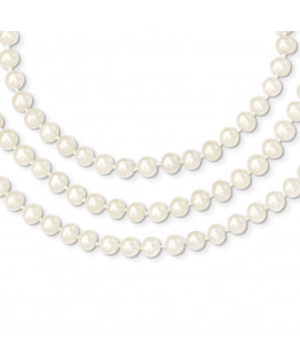 14k 6-6.5mm 3 Strand FW Cultured Pearl Necklace