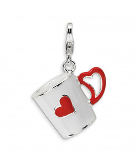 Sterling Silver 3-D Enameled Coffee Cup with Heart w/Lobster Clasp Charm