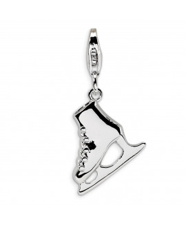 Sterling Silver 3D Ice Skate with w/Lobster Clasp Charm