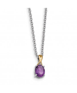 Sterling Silver & 14K Amethyst & Diamond Necklace