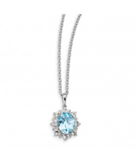 Sterling Silver & 14K Sky Blue & White Topaz Necklace