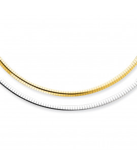14k 4mm Reversible White & Yellow Domed Omega Necklace