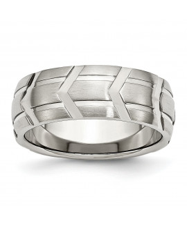 Stainless Steel Grooved 8mm Brushed & Polished Band