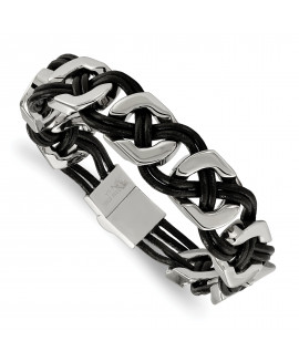 Stainless Steel Black Leather 8in Bracelet