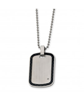 Stainless Steel Brushed w/Black Carbon Fiber Inlay .01ct.Diamond Necklace