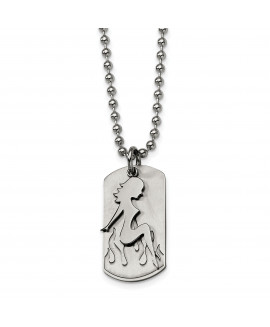 Stainless Steel Girl Dog Tag 22in Necklace