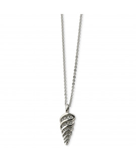 Stainless Steel Fancy Shell w/ CZs Pendant 22in Necklace