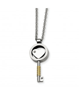 Stainless Steel Gold IP-plated & CZ Key 22in Necklace