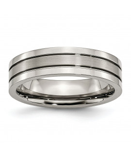 Titanium Grooved 6mm Brushed and Polished Band