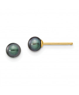 14k 4-5mm Black Round FW Cultured Pearl Stud Earrings