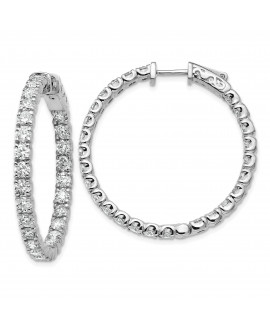 14k White Gold Round Hoop w/Safety Clasp Earring Mountings