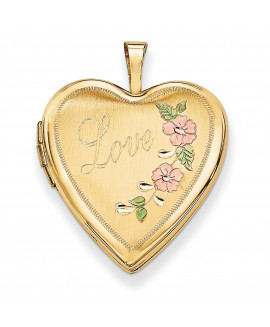 14K 20mm Enamel Flowers Love Heart Locket