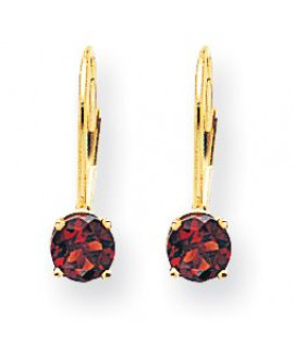 14k 5mm Garnet Leverback Earrings
