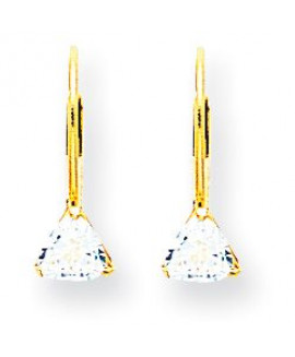 14k 5mm Trillion Cubic Zirconia Leverback Earrings