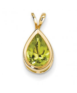 14k 10x7mm Pear Peridot Checker bezel pendant