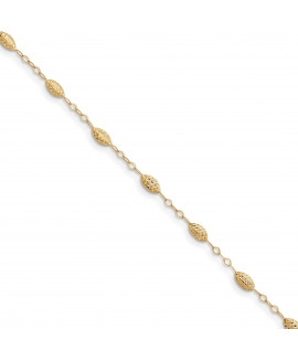 14k Puff Rice Bead 9 with 1in ext Anklet