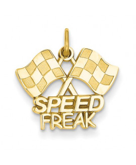 14k Racing Flags with Speed Freak Charm