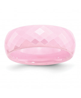 Ceramic Pink Faceted 7.5mm Polished Band