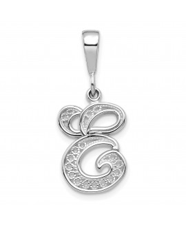 14k White Gold Solid Polished Filigree Initial E Pendant