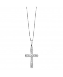 14k White Gold Diamond Fascination 18in Cross Necklace