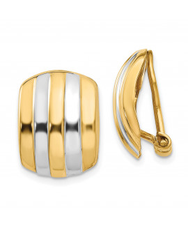 14k & Rhodium Ribbed Non-pierced Omega Back Earrings