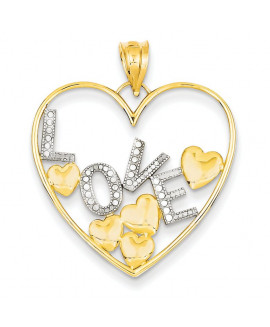 14K & Rhodium Love and Floating Hearts Pendant