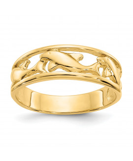 14K Triple Dolphin Band Ring
