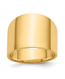 14K 15mm Flat-top Tapered Cigar Band Ring