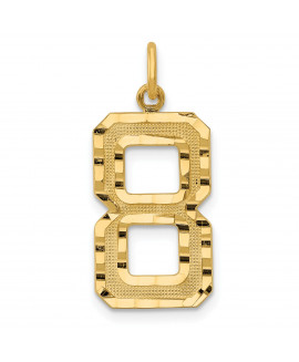 14ky Casted Large Diamond Cut Number 8 Charm