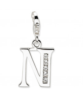 Sterling Silver CZ Letter N w/Lobster Clasp Charm