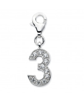 Sterling Silver CZ Numeral 3 w/Lobster Clasp Charm