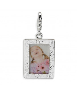 Sterling Silver Polished Picture Frame w/Lobster Clasp Charm