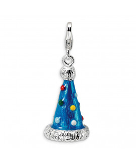 Sterling Silver 3-D Enameled Party Hat w/Lobster Clasp Charm