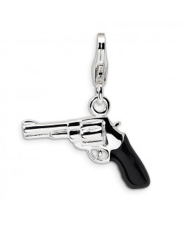 Sterling Silver 3-D Enameled Pistol w/Lobster Clasp Charm