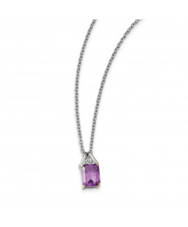 Sterling Silver & 14K Amethyst and Diamond Necklace