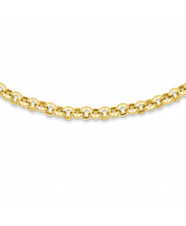 14k 18in 7mm Polished Fancy Rolo Link Necklace