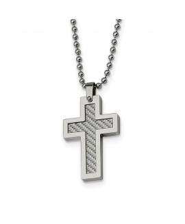 Stainless Steel Polished w/Grey Carbon Fiber Inlay Cross 22in Necklace