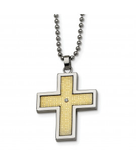 Stainless Steel 14k Gold-plated w/Diamond Accent Cross Necklace