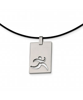 Stainless Steel Leather Cord Runner Cut-out Necklace