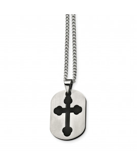 Stainless Steel Black Plated Cross Necklace