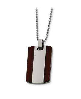 Stainless Steel Wood Dog Tag Pendant Necklace