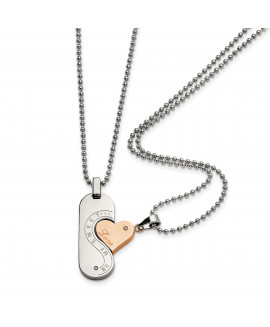 Stainless Steel Polished & Pink IP-plated Necklace Set