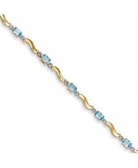 14k Completed Fancy Diamond/Blue Topaz Bracelet