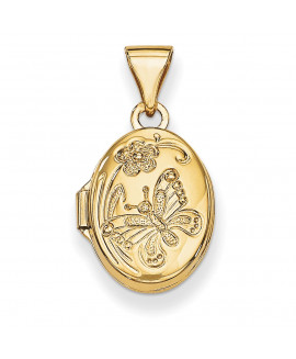 14k Floral & Butterfly Locket