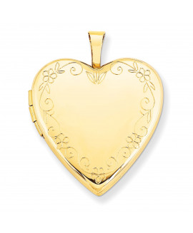 14K 20mm Flower Vine Border Heart Locket
