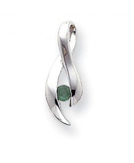 14k White Gold 3mm Emerald Pendant
